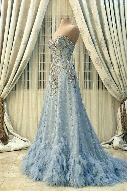 New Arrival Wedding Dress,Modest Prom Dress,Sweetheart Wedding Dress,Blue Wedding Dress, Beading Wedding Dress,Appliques Wedding Dress,Tulle Wedding Dresses,Charming Wedding Gown,Wedding Dresses