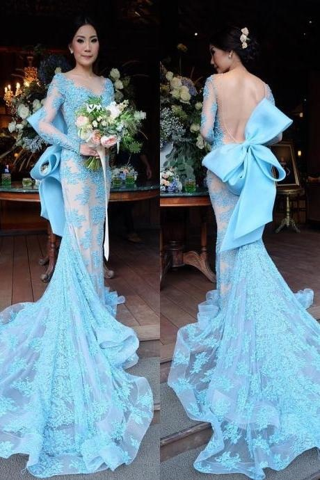 Long Prom Gown,New Arrival Prom Dress,Modest Prom Dress,Long Sleeves Evening Dress,Mermaid Prom Dress,Bow Back Prom Dress,Appliques Prom Dress,Lace Prom Dress 2017, Prom Dresses