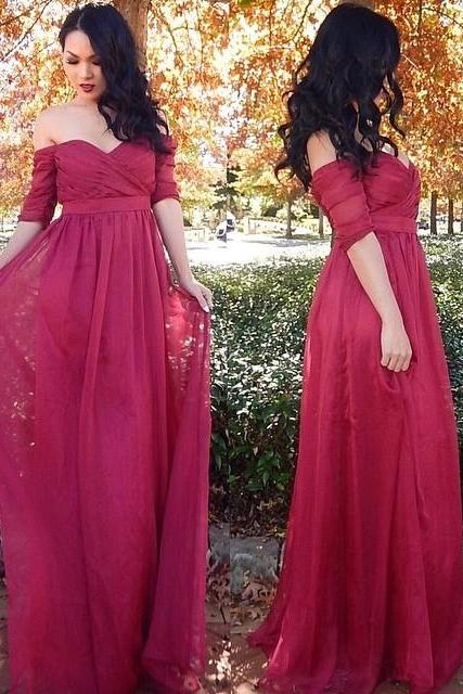 Sweetheart Prom Dresses,Cheap Ruffles Prom Dresses, Long Half-Sleeve Prom Gown,Off-The-Shoulder Prom Dress, Chiffon Evening Dresses,Chiffon Prom Dresses,Prom Dresses