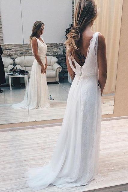 Charming Prom Dresses 2017,A-Line Prom Gown, Lace Prom Dresses,White Prom Dress, V-Neck Prom Gowns,Sexy Evening Dress,Backless Prom Dress, Sleeveless Prom Gown,Prom Dresses