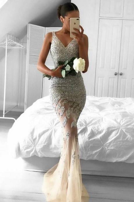 Sweetheart Prom Dresses 2017,Lace Prom Dress,Appliques Prom Gowns, Beading Prom Dress, Sleeveless Prom Dresses,Tulle Prom Dresses,Mermaid Evening Dress,Prom Dresses