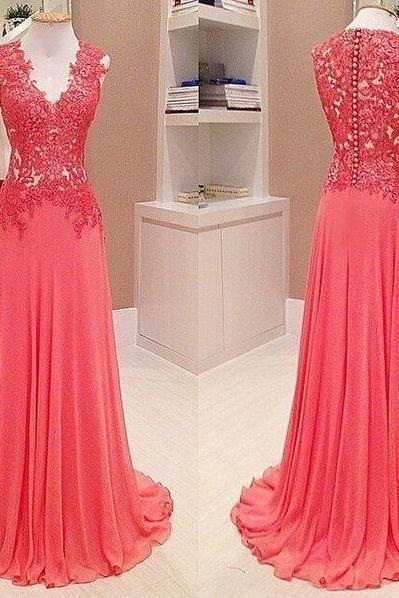 Chiffon Prom Dresses,Elegant Prom Dress,V-Neck Prom Gown,Sleeveless Prom Dresses, Lace Prom Dress,Appliques Evening Dress 2017, Long Prom Dress,Floor Length Prom Gown,Prom Dresses
