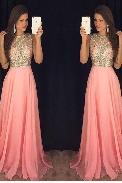 High Prom Dresses,Backless Prom Dress,Sparkly Pink Evening Gown, A-Line Prom Dress, Chiffon Prom Dress,New Arrival Prom Dress,Charming Prom Dresses 2017,Prom Dresses