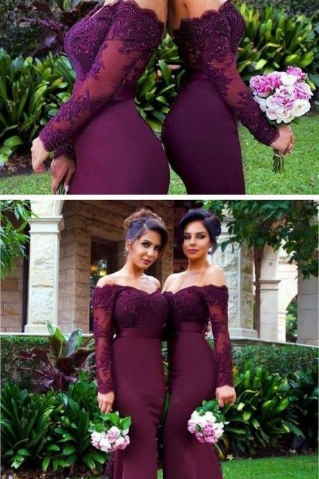 Burgundy Bridesmaid Dress,Off-The-Shoulder Bridesmaid Dress,Mermaid Evening Bridesmaid Dresses,Sexy Long Bridesmaid Dress,Long Sleeve Bridesmaid Gown,Bridesmaid Dresses