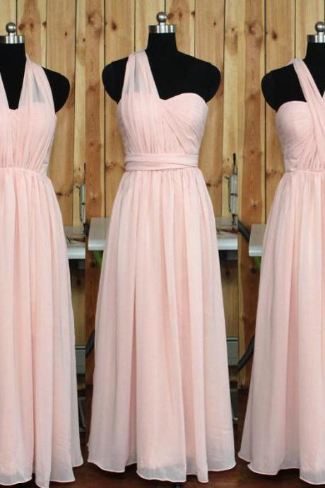 Pink Bridesmaid Dress, Sleeveless Bridesmaid Dresses,A-Line Bridesmaid Gown, Chiffon Bridesmaid Dress, Floor Length Bridesmaid Gowns,Charming Bridesmaid Dresses,Bridesmaid Dresses