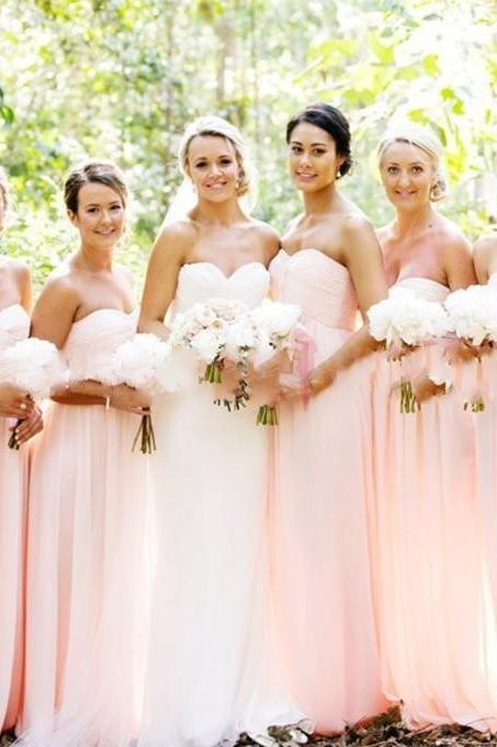 Blush Pink Bridesmaid Gown,Sweetheart Bridesmaid Dresses,Chiffon Bridesmaid Gown,Simple Bridesmaid Dress,Cheap Bridesmaid Dresses 2017,Spring Bridesmaid Gown,Bridesmaid Dresses