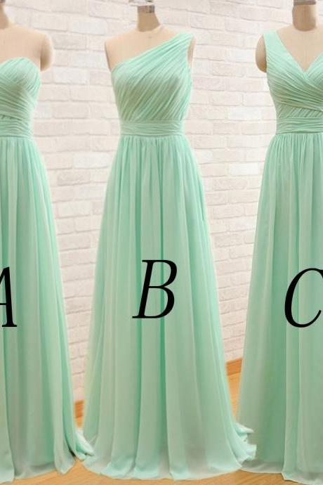 Green Bridesmaid Gown, One Shoulder Bridesmaid Dresses,Chiffon Bridesmaid Gown,Simple Bridesmaid Dress,Sweetheart Bridesmaid Dress,Cheap Evening Dresses 2017, V-Neck Bridesmaid Gowns,Bridesmaid Dresses