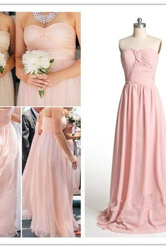 Blush Pink Bridesmaid Gown,Modest Prom Dresses,Chiffon Prom Gown,Simple Bridesmaid Dress,Cheap Bridesmaid Dresses,Sweetheart Bridesmaid Dresses 2017, Bridesmaid Dresses