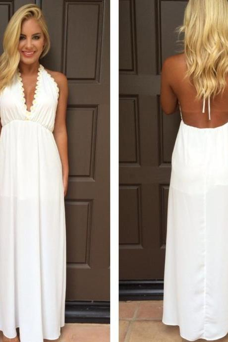 Halter Prom Dresses,Sexy New Prom Dress,White Prom Dress,V-Neck Evening Gowns, Backless Prom Dresses,Sleeveless Prom Dress,Chiffon Prom Gown,New Arrival Prom Gowns,Prom Dresses
