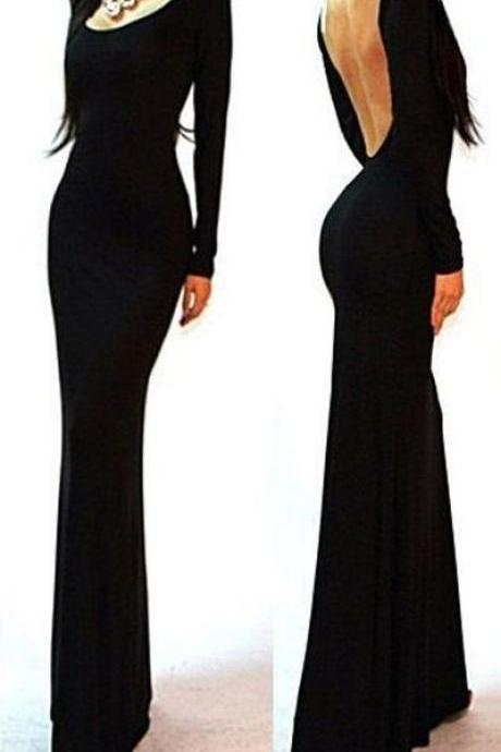 Black Long Prom Dresses,Sexy Backless Prom Gown,Mermaid Prom Dresses,Long Sleeves Prom Dress,Princess Evening Gowns,Chiffon Prom Dresses 2017,Prom Dresses