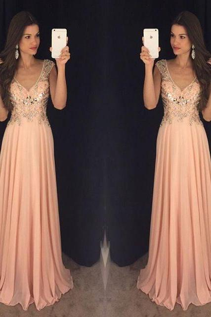 Backless Prom Dresses,Beading Prom Dress,Open Back Party Gown,Prom Dresses,Sexy Evening Gowns,Chiffon Formal Gown,Blush Pink Evening Party Gowns,Prom Dresses