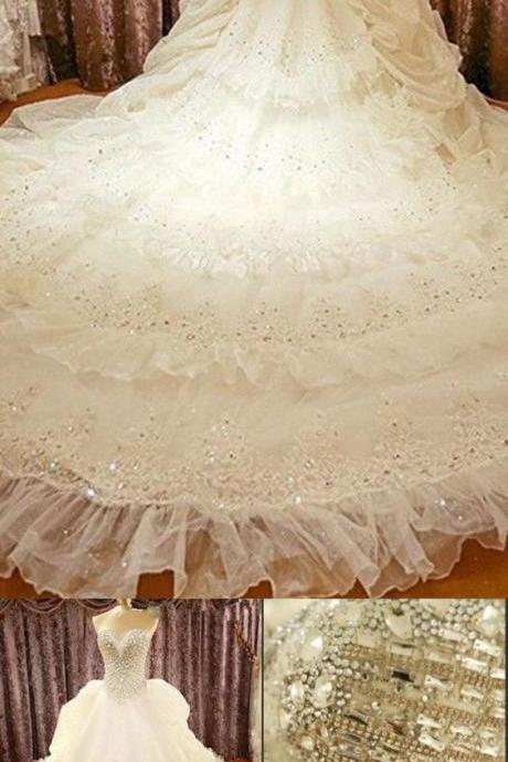 Elegant Bridal Gown,Long Wedding Dresses,A-Line Wedding Gowns,Strapless Lace Wedding Dresses,White Wedding Dresses ,Tulle Wedding Gown,Appliques Wedding Dress,Wedding Dresses
