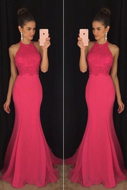 Evening Prom Dresses, Pink Prom Dresses,Mermaid Prom Gown,Long Party Prom Dress,Formal Prom Dresses,Halter Prom Dress,Sleeveless Prom Dress,Prom Dresses