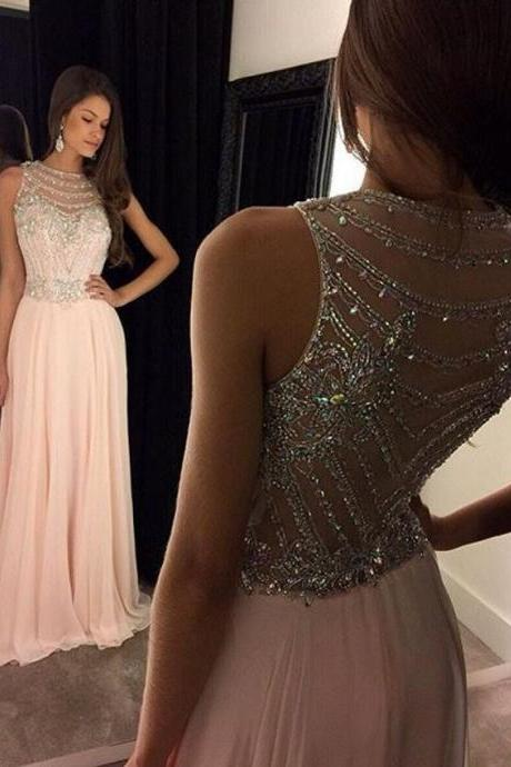 Elegant Prom Dress,A-Line Long Prom Gown,Chiffon Scoop Pink Evening Dress ,Beading Prom Dresses,Sleeveless Party Dress,New Arrival Prom Dresses,Prom Dresses