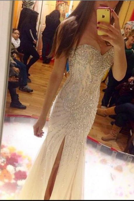 Luxurious Mermaid Prom Dress,Floor Length Prom Gown,Sweetheart Champagne Evening Dress, Beading Prom Dresses,Tulle Formal Dress,Sleeveless Prom Dress,Prom Dresses