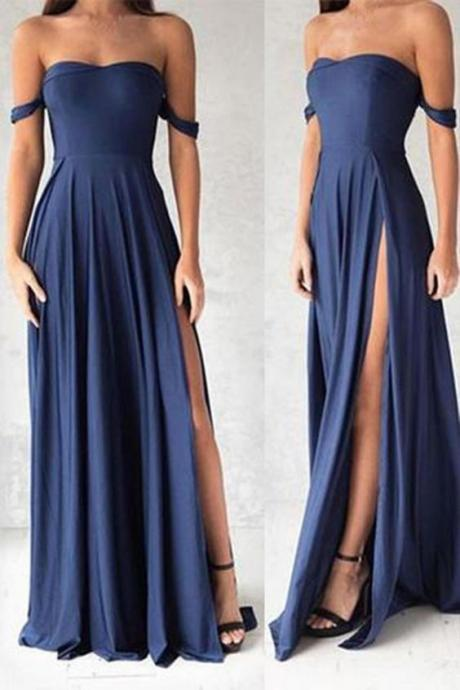 Navy Blue Prom Dress,Off The Shoulder Prom Dress, Floor Length Formal Gown,High Slit Evening Dress,Formal Dress 2017,Prom Dresses