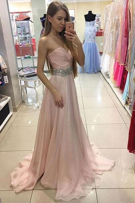 Beautiful Party Dress,Beaded Pink Prom Gown,Sweetheart Prom Dress,Chiffon Formal Gown,Long Party Dress With Draped Bodice,Prom Dresses