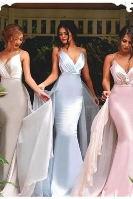 Honorable Spaghetti Straps Bridesmaid Dress,Detachable Bridesmaid Dress with Pleats,Sweetheart Mermaid Bridesmaid Dresses,Long Charming Bridesmaid Dress,Bridesmaid Dresses