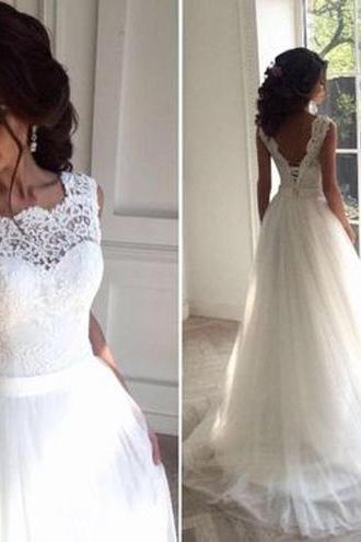 Lace Tulle Wedding Dresses 2017,Long Appliques Wedding Gown,Princess Wedding Dresses,Chic Sleeveless Wedding Dress,Backless Brides Dress,Wedding Dresses