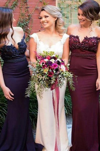 2017 Charming Stunning Burgundy Bridesmaid Gown, Pink Navy Off Shoulder Sweep Train Mermaid Bridesmaid Dress,Beading Bridesmaid Dress,Bridesmaid Dresses