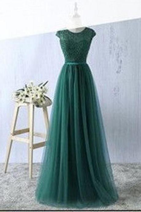 2017 Sexy Prom Gowns,Green Prom Dress,Tulle Prom Dresses ,Long Evening Dress,Green Formal Dress,A-Line Party Dress,Chic Prom Dress,Prom Dresses