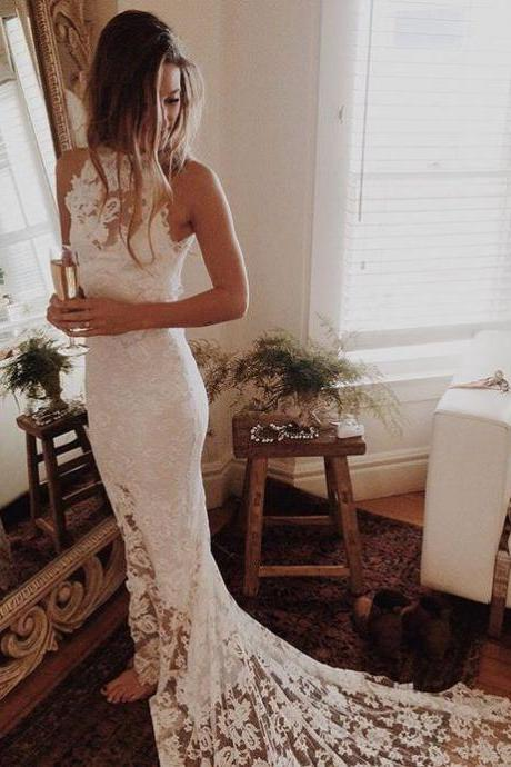 2017 Romantic Boho Wedding Dresses,Beach Wedding Dress,High Neck Wedding Gowns,Mermaid White Wedding Dress,Princess Backless Lace Skirt Wedding Gowns,Wedding Dresses