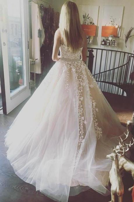 2017 Elegant Tulle Lace Ball Gown, Ivory Blue Prom Dress, Long Strapless Prom Dress, Formal Prom Dress,Prom Dress for Teens Wedding Dresses,Chic Beach Wedding Dress,Wedding Dresses