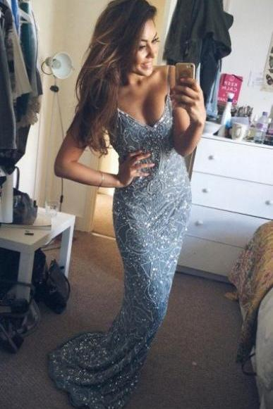 2017 Stunning Mermaid Prom Dress,Spaghetti Starps Evening Dress,Beading Formal Gown, Long Appliques Prom Dress,Chic Sweetheart Prom Gown,Prom Dresses