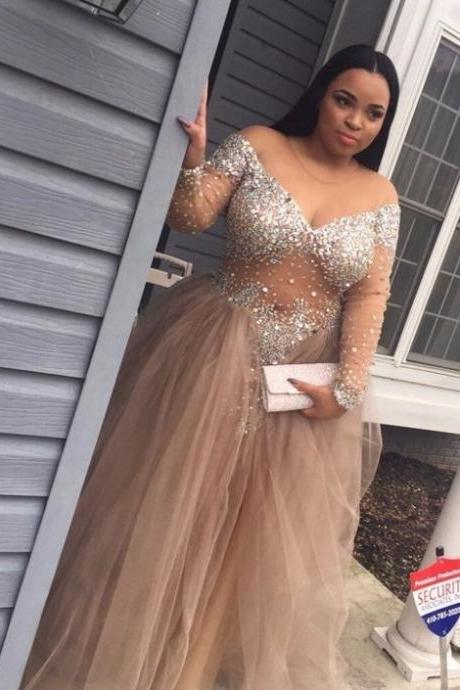 2017 Romantic Evening Dress,Off-the-Shoulder Prom Dress,Sequins Formal Dress,Ball Gown Tulle Prom Dresses 2017,Plus Size Prom Gown,Prom Dresses