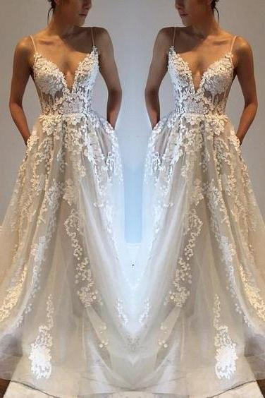 Applique Prom Dress,Sexy A-line Wedding Gows,V Neck Ivory Wedding Dress,Fashion Long Prom Wedding Dresses ,Elegant Wedding Dresses,Wedding Dresses