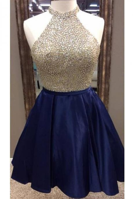 Dark Blue Satin Beading Sequins Halter A-line Short Prom Dresses,Club Dresses,Sweet 16 Cocktail Dress,Homecoming Dresses,PG567