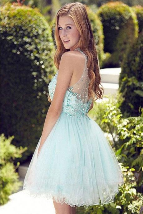 Elegant Light Blue Short Prom Dress,Homecoming Dress,Party Dress For Girls,Sweet 16 Cocktail Dress,Homecoming Dress,SVD557