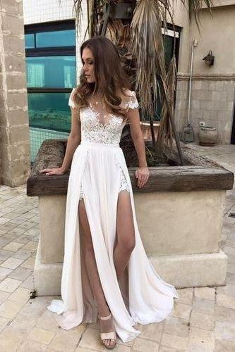 Charming Prom Dress,High Quality Prom Dress,Sexy White Prom Gown,Chiffon Evening Dress,Elegant Princess Party Dress,Wedding Dress,Prom Dresses,ST56