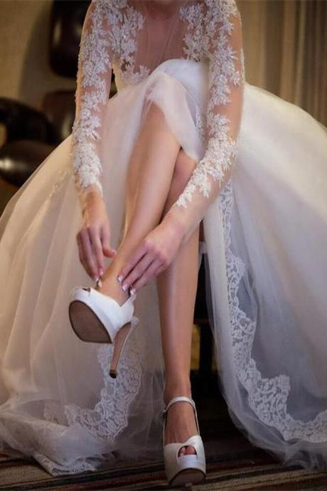 Charming Wedding Gown,Long Sleeve Wedding Dresses,Sexy See Through Wedding Party Dresses,Lace Wedding Dress,Plus Size Wedding Dresses,Wedding Dresses,ST89