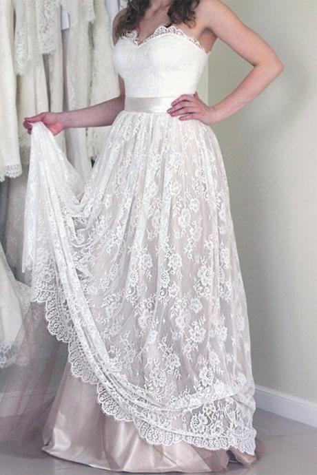 Strapless Sweetheart Lace A-line Floor-Length Wedding Dress