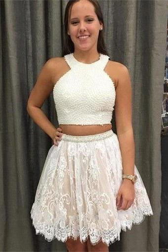 Sweetheart Halter Cocktail Dresses,Two Piece Crew Pear Lace Short White Homecoming Prom Dress with Appliques,Plus size Homecoming Dress,Homecoming Dress,DT454