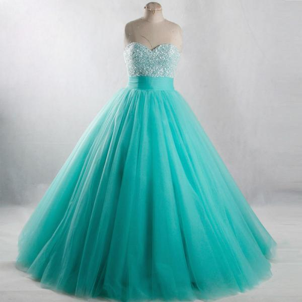 Elegant Green Beaded Tulle Ball Gown Sweetheart Long Prom Dresses, Green Floor Length Cheap Quinceanera Dresses, CP575