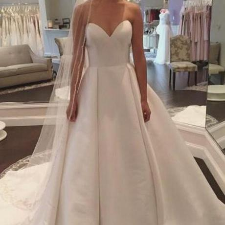 White Wedding Dresses, Sweetheart Wedding Gown, Satin Wedding Dress,Simple Wedding Gown,A-Line Wedding Dress,Sleeveless Wedding Dresses,Wedding Dresses