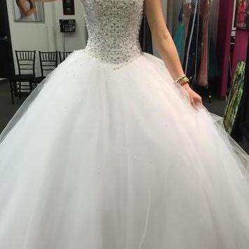 Crystals Beading Wedding Gown,Spaghetti Straps Wedding Dresses,Sweetheart Wedding Dress,White Wedding Dress, Luxury Pealrs Wedding Gown,Tulle Wedding Dress, Ball Gown Wedding Dresses,Wedding Dresses