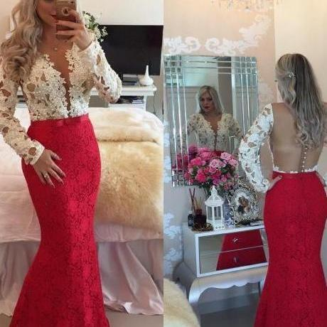 Red Prom Dresses,V-Neck Prom Dress,Mermaid Prom Gown, Long Sleeve Prom Gowns,Elegant Evening Dress,Modest Evening Gowns,Simple Party Gowns,Lace Prom Dress,Prom Dresses