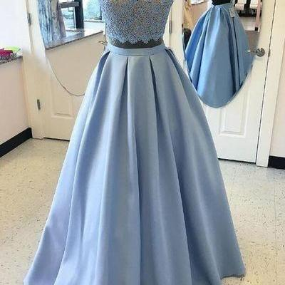 Two Piece Prom Dress, Long Prom Dress, Blue Prom Dress 2017, Formal Evening Gown,Custom Made Evening Dress,Lace Prom Dress,New Arrival Prom Dresses,Prom Dresses