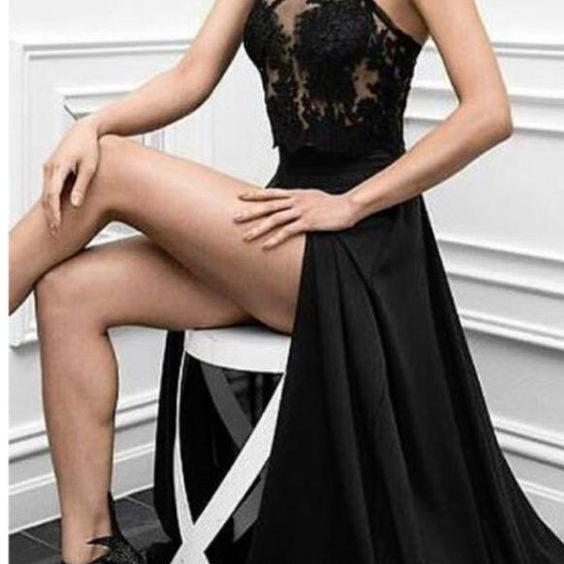 Sexy Black Evening Gowns, Charming Prom Dress,Sleeveless Prom Dress,Appliques Prom Dress,High Slit Evening Dress,Long Evening Dresses,New Arrival Prom Gown,Prom Dresses