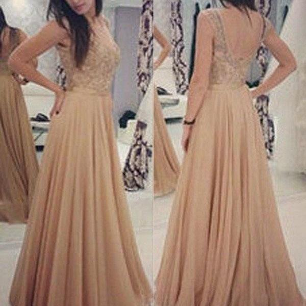 Backless Prom Dresses,Beading Prom Gown,A-Line Prom Dress,Long Chiffon Prom Dresses,Evening Prom Gowns,Sleeveless Evening Dress,Prom Dresses