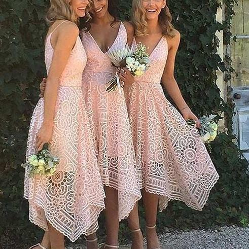 2017 Classic Short Bridesmaid Dress,Stylish Bridesmaid Dresses,Lace Sweetheart Bridesmaid Gowns,Spaghetti Straps High Low Bridesmaid Dress,Prom Dress,Bridesmaid Dresses