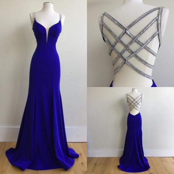 Sexy Mermaid Prom Dress,Spaghetti Straps Evening Dress,Royal Blue Party Dress,Long Prom Dress with Beading,Chic Princess Prom Gown,Prom Dresses,S32