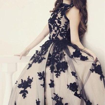 Black Prom Dresses,Formal Gown,Simple Evening Gowns,Unique Party Dress,Lace Prom Gown,Ball Gown Evening Gowns For Teens,STJHK